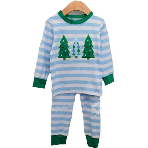 Blue Stripe Knit Tree Pajamas by Cecil and Lou