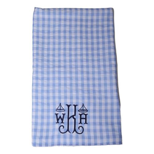 Blue Check Seersucker and Terry Towel