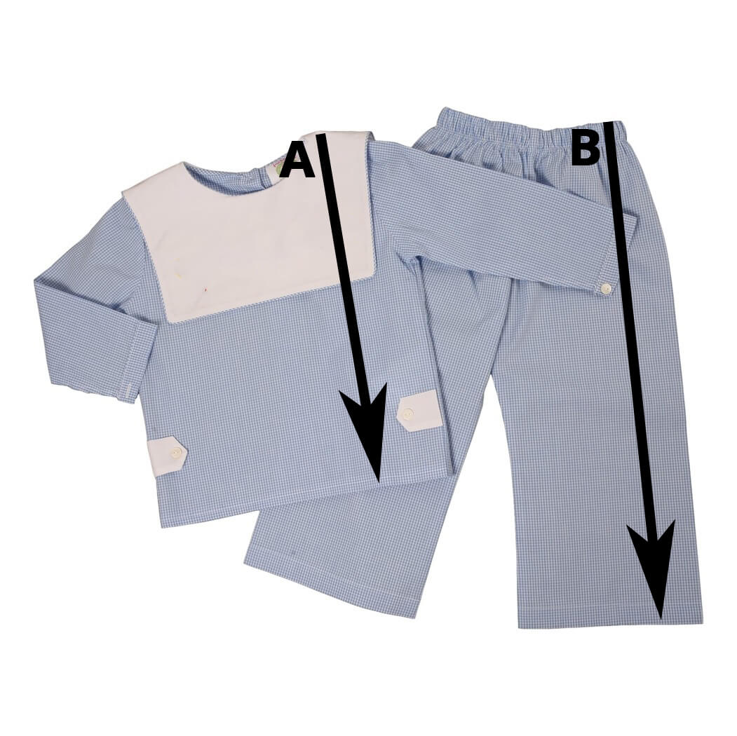 Boys Collared Shirt Pant Set Size Chart