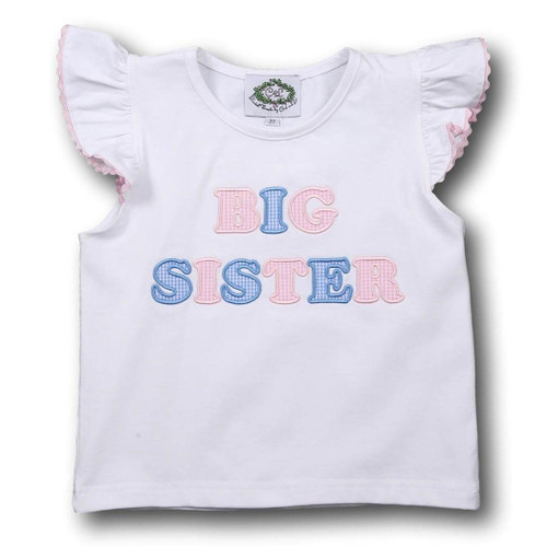Pink and Blue Big Sister Shirt - Smocked Threads by Cecil & Lou