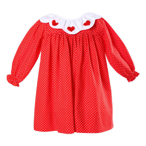 red mini dot embroidered heart dress by cecil and lou childrens valentines clothing