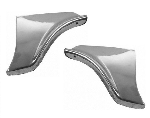 58 1958 Chevy Impala Rear Fender Skirt Trim Scuff Pads Stainless