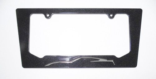 15-16 Corvette C7 Coupe Tiger Shark Gray Silhouette Rear License Plate Frame In Carbon Flash Metallic Black