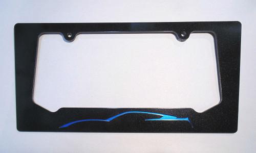 14-16 Corvette C7 Coupe Laguna Blue Silhouette Rear License Plate Frame In Carbon Flash Metallic Black