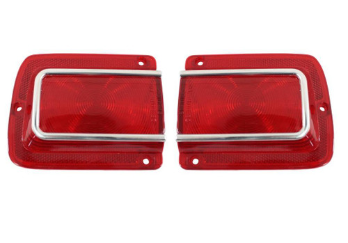 1965 65 CHEVELLE TAIL LIGHT LENS WITH CHROME TRIM NEW
