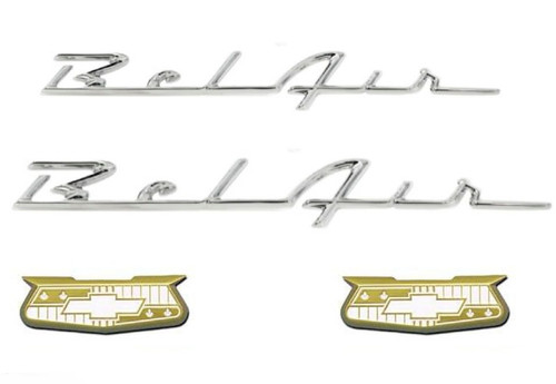 55 56 Chevy Gold Bel Air Crests And Quarter Chrome Scripts Set Trim Emblems New