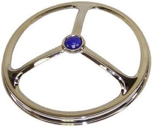 "5-3/4"" Motorcycle Headlight Headlamp Bulb Chrome Cover Lucas Tri Bar W/ Blue Dot"