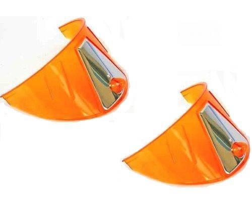 """7"""" Headlight 12V Headlamp Light Bulb Visors Trim Ring Cover Amber Orange Pair"""