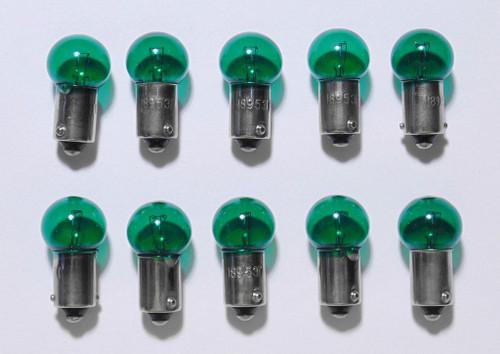 (10) 55-72 Chevy Green Dash Panel Cluster Gauges Glove Box Light Bulbs