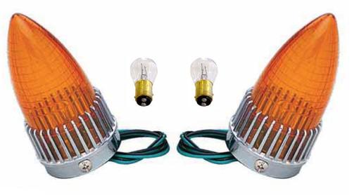1959 Cadillac 59 Caddy Taillight Turn Signal Lamp Amber Lens Bulbs Assemblies PAIR