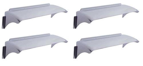 "4X6"" Sealed Beam Headlights Headlamp Bulbs Trim Covers Shields Visors Set New"