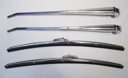61 62 63 64 Chevy Impala Polished Stainless Windshield Wiper Arms & Blades