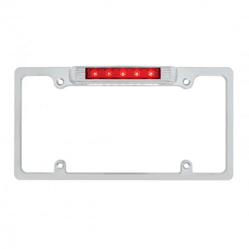 Chrome Metal Deluxe Red LED Tail / Third Brake Light & License Plate Light Frame