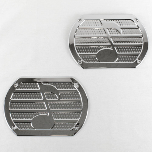 Vintage Chrome Musical Note Speaker Grill Cover Package Tray 6X9 Lowrider PAIR