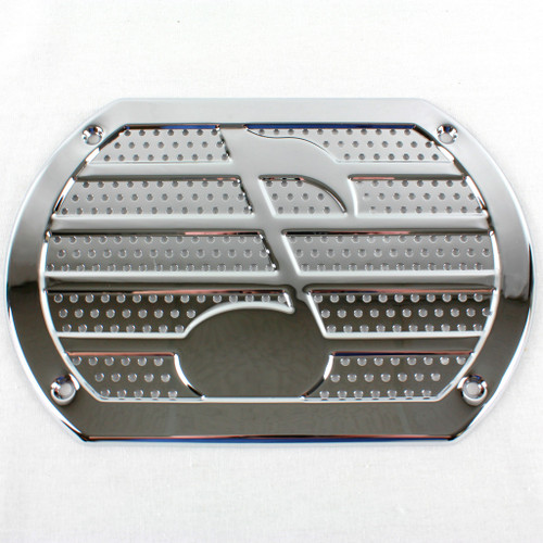 Vintage Chrome Musical Note Speaker Cover Package Tray 6X9 Lowrider Rat Hot Rod
