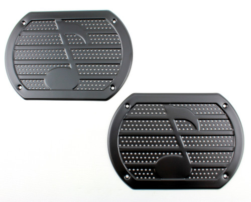 Vintage BLACK Musical Note Speaker Grill Cover Package Tray 6X9 Lowrider PAIR