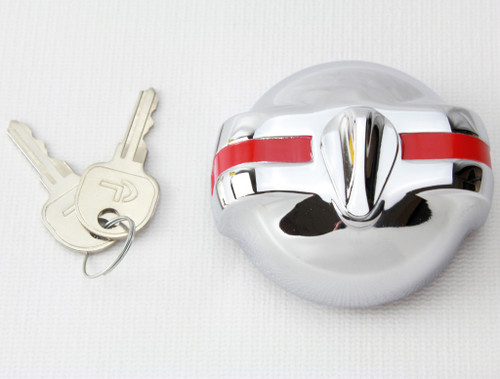 53 54 55 56 57 Chevy Car Red Stripe Chrome Accessory Locking Gas Fuel Cap