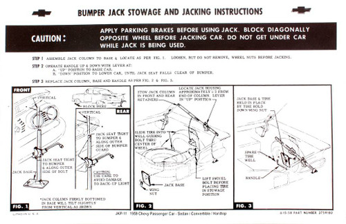 59 Chevy Bel Air Biscayne Impala Spare Tire & Jacking Instructions 1959 Chevrolet