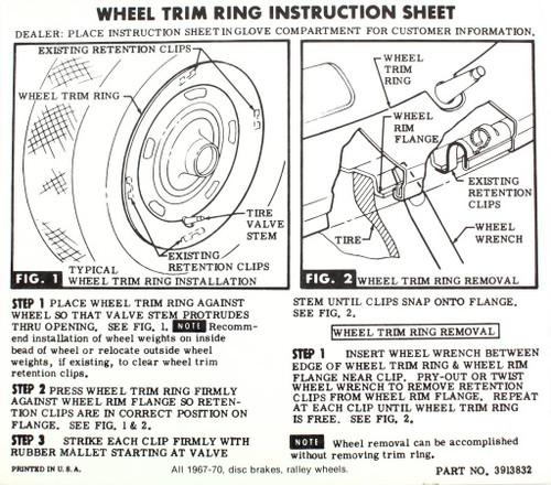 67 68 69 70 Chevelle Impala Camaro Disc Brake Rally Wheel Glove Box Instructions