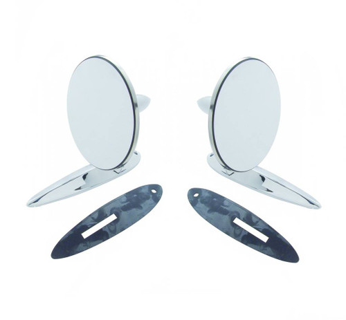 50s-60s Accessory 55-57 Chevy Outside Door Chrome CONVEX Rear View Mirrors Pair