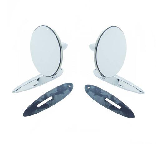 55 56 57 Chevy Chrome Pair Outside Rear View Mirrors 1- Flat Glass & 1- Convex
