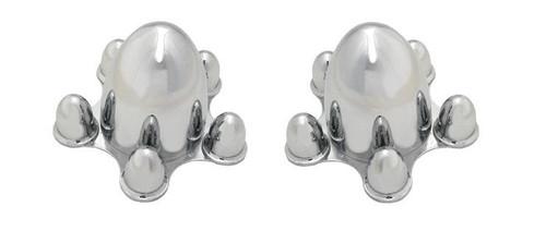 Chrome Spider Bullet Center Wheel Cover Hub Caps 5 lug x 4-3/4 CHEVY BOLT PATTERN Pair