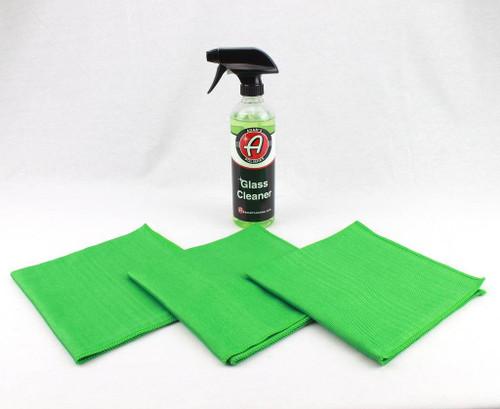 Adam's Polishes Glass Window Cleaner 16 oz & 3- Microfiber Cloth Towel Kit 16x16