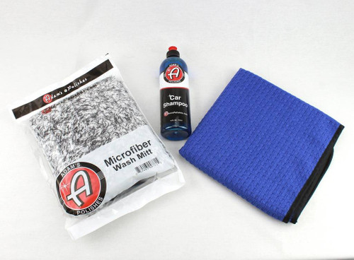 Adam's Polishes Car Wash Shampoo Soap & Large Microfiber Drying Towel & Mitt Kit