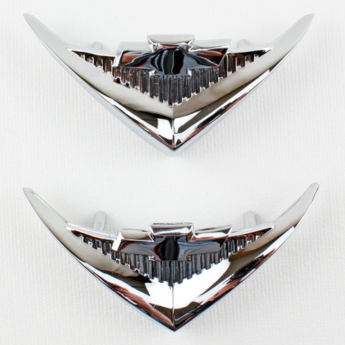55 1955 Chevy V8 Under Tail Light Rear Chrome VEE Emblems
