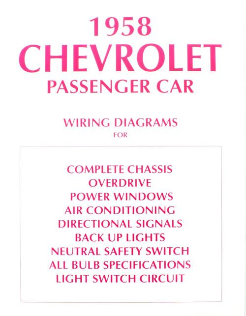 58 Chevy Impala Electrical Wiring Diagram Manual 1958