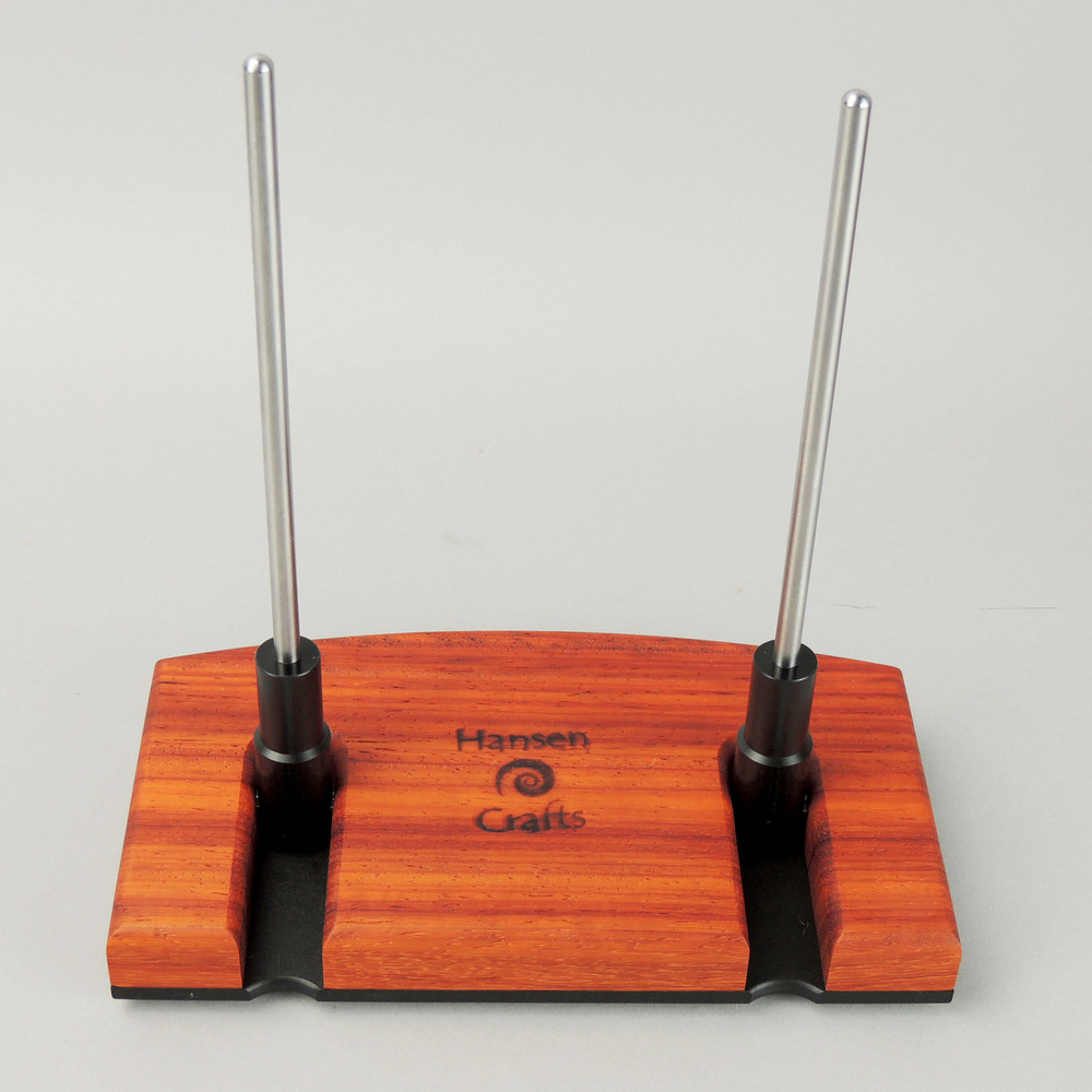 Padauk Lazy Kate - straight up for table top plying (bobbins not included)