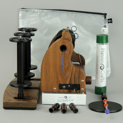 "The Fine Spinner Bundle includes; Classic miniSpinner with a lace flyer, 3 extra lace break down bobbins, 2 or 3 Ply Lazy Kate (your choice), Orifice reducer set, Quill - 1/4""-6mm, Maintenance kit, and a Gear/Accessory Bag."