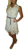 Belted Sleeveless Dress is Ivory White with Black Leopard Heads.