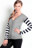Heather Grey Cardigan with Navy Striped Sleeves