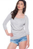 Draping Cowl Neck Sweater Top in Heather Grey!