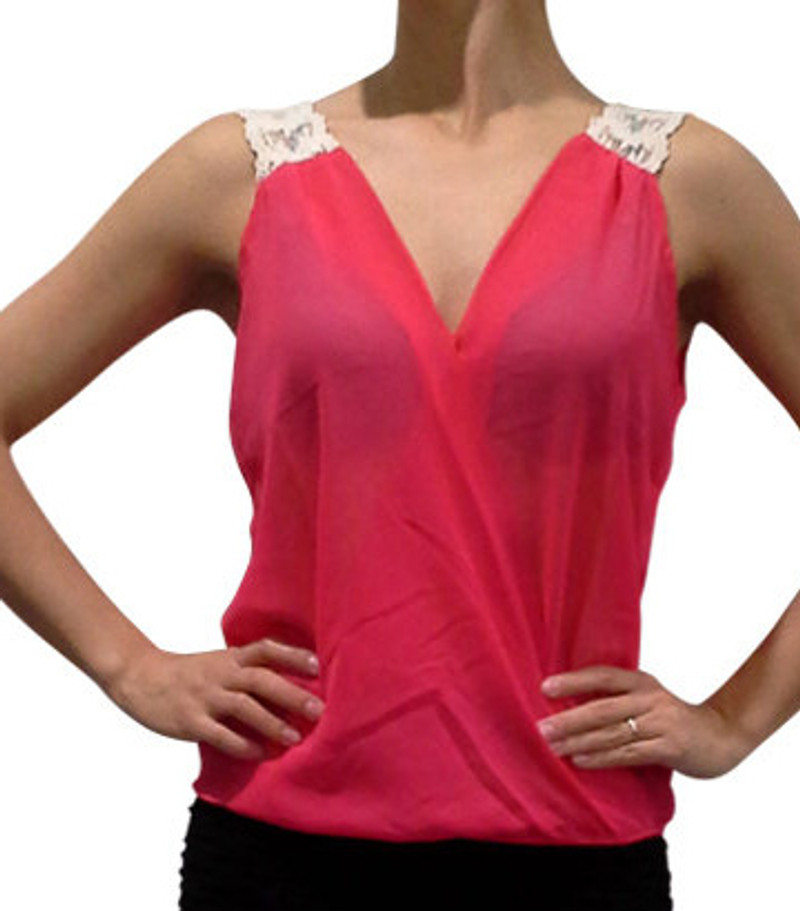 4deccf2521 Sleeveless Top has Touch of Boho-Chic in Crochet Straps! Coral with Off  White