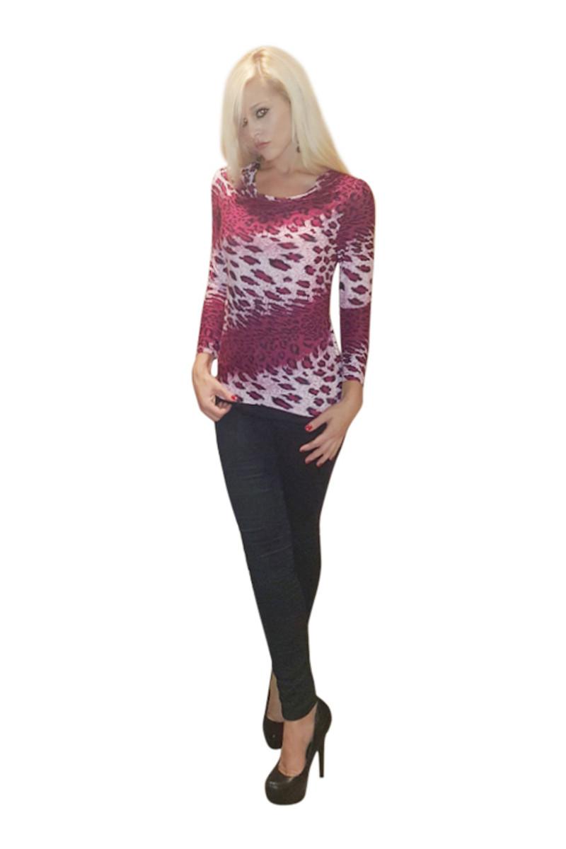 Long Sleeve Cowl Neck Top! Fuchsia Leopard.