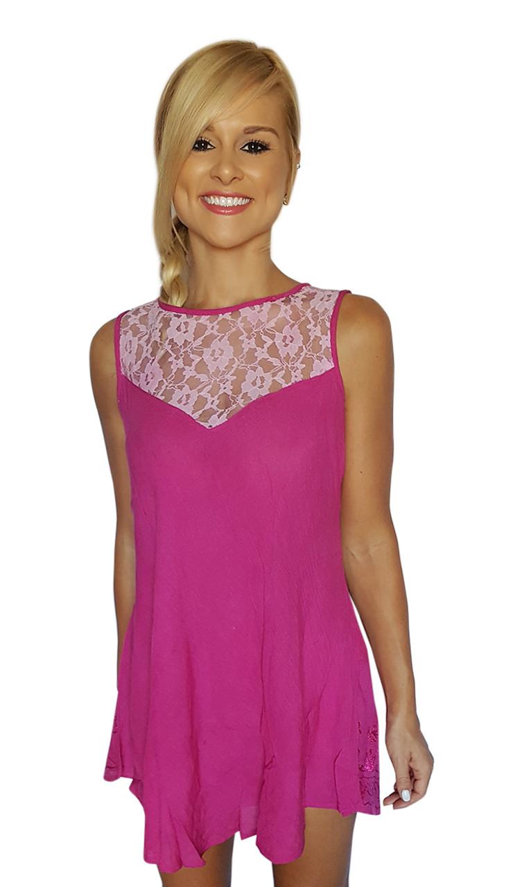 cb84e234a7 Boho Sleeveless Tunic Top or Mini Dress with Lace! Fuchsia
