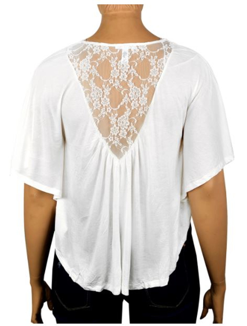 PLUS SIZE Lace Top from Ambiance Apparel is 100% Rayon! White.