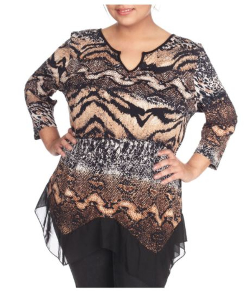 Plus Size V-Neck Top in Brown Snake Pattern with Sheer Lace Trim.