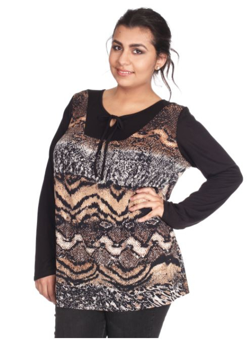 Plus Size Top with Peasant Tie Neck Top. Brown Snake Pattern.