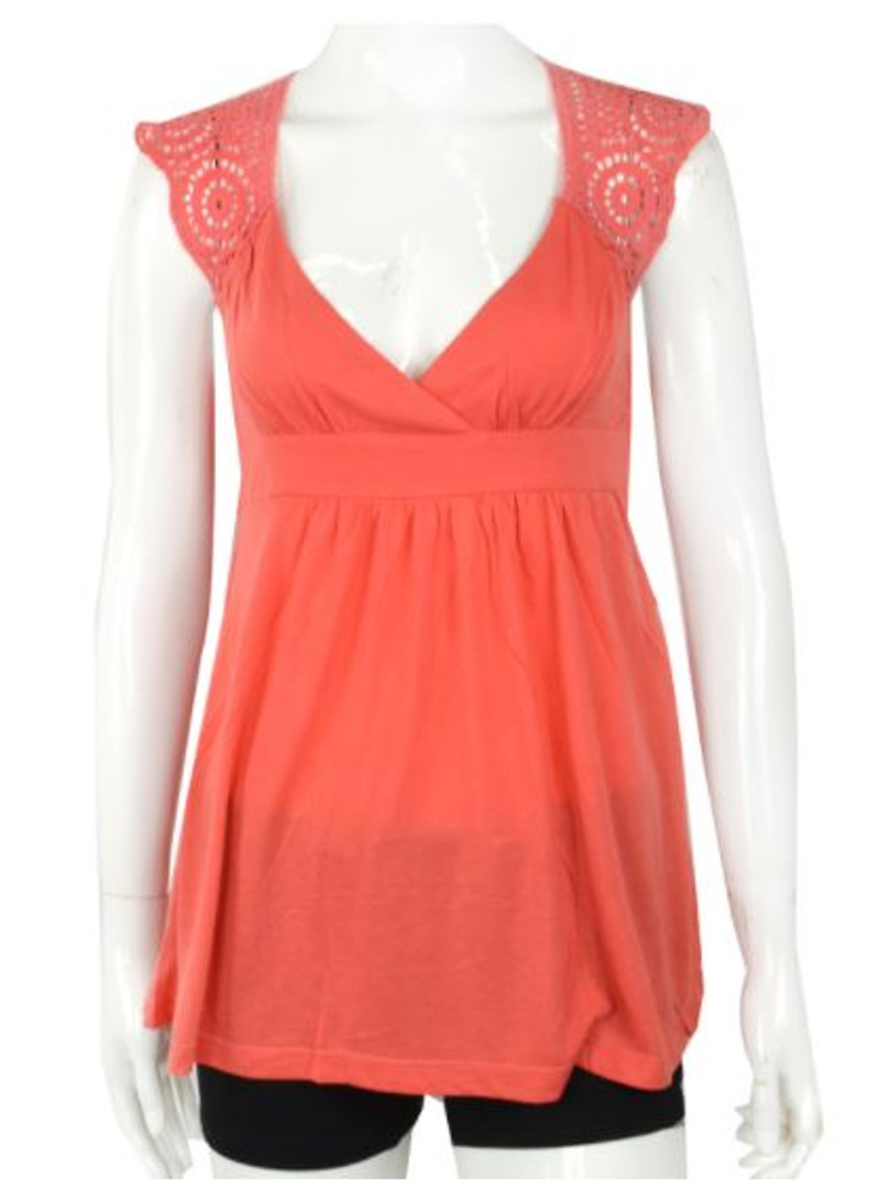 Coral Boho-Chic Sleeveless Top with Crochet Back.