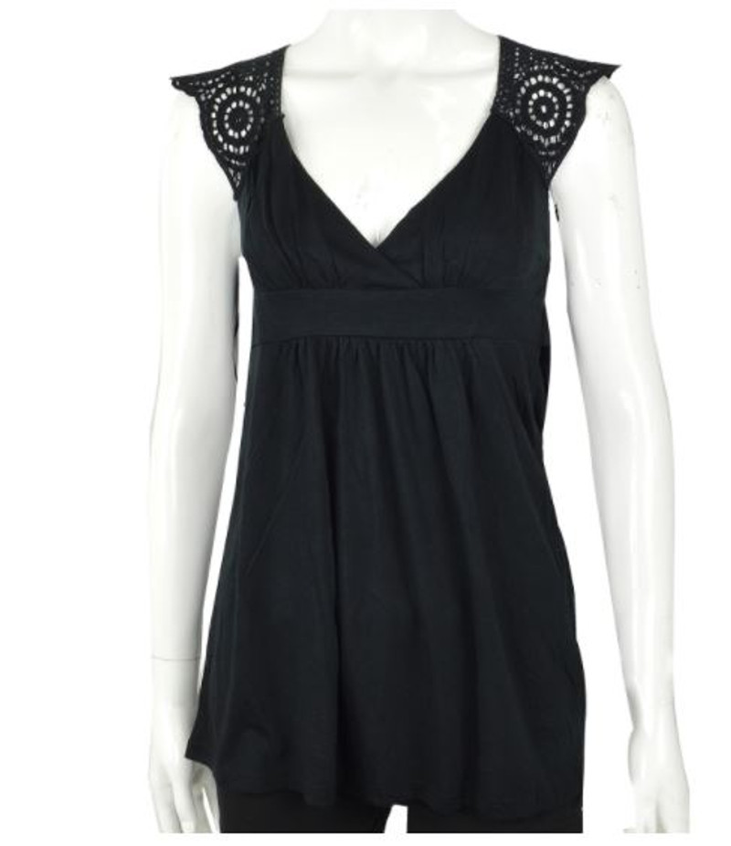 Solid Black Boho-Chic Sleeveless Top with Crochet Back.