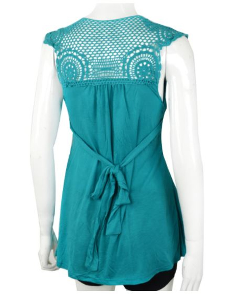 Teal Green Boho-Chic Sleeveless Top with Crochet Back.