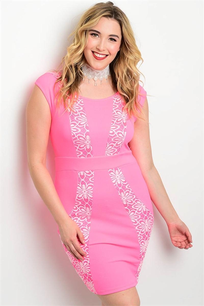 Plus Size Bodycon Midi Pink Dress W A Floral Design 17 28