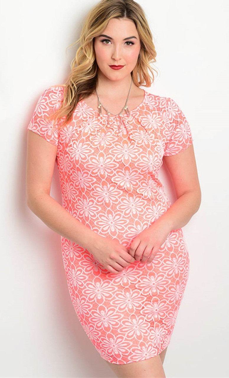 Plus Size Short Sleeve Floral Lace Pinkcoral Dress 17 31