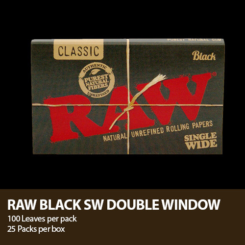 RAW CLASSIC NATURAL GUM BLACK ROLLING PAPER KING SIZE SLIM 32-LEAVES per PACK (Copy)