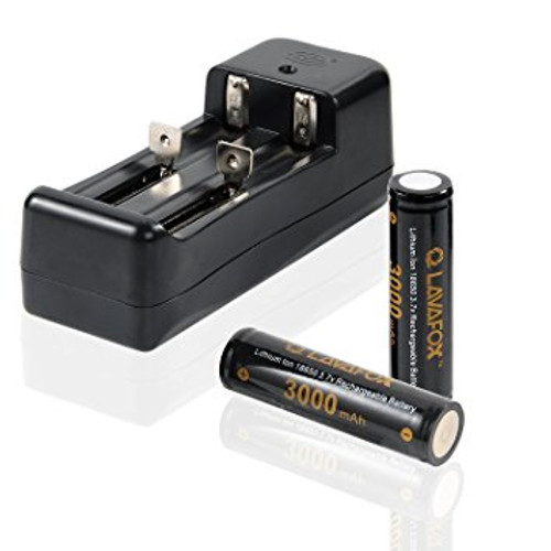 18650 3000mAh 40A 3.7V High Drain Flat Top Rechargeable Lithium-ion Batteries and Dual Smart Charger for LED (1-pack)