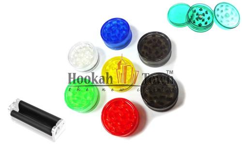 Plastic Grinder 3 pack plus cigarette roller (Colors Vary)