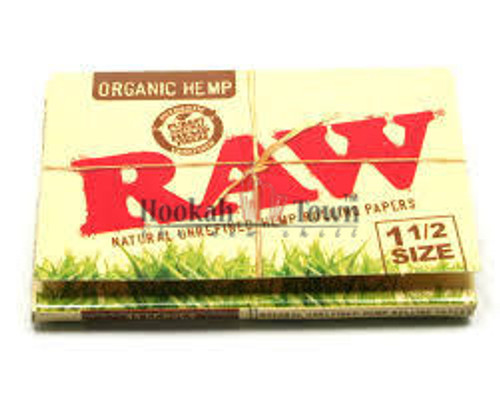 RAW ORGANIC HEMP 1 1/2 SIZE CIGARETTE ROLLING PAPERS, 33 LEAVES